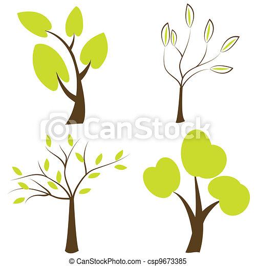 Vector træer silhuetter sæt træer iconerne stock