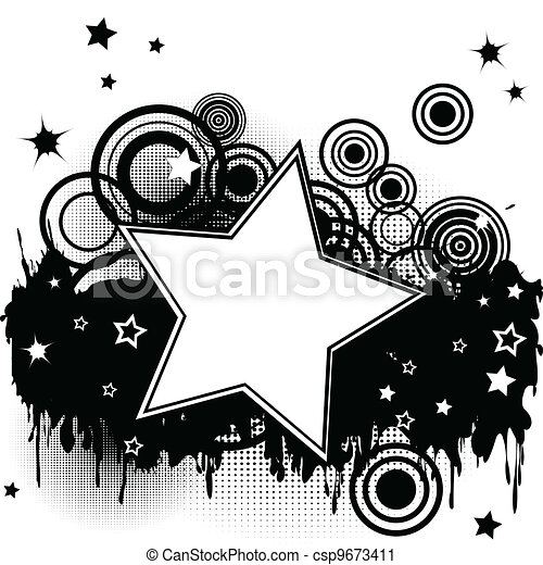 Grunge splash background with stars, circles and  place for your text - csp9673411
