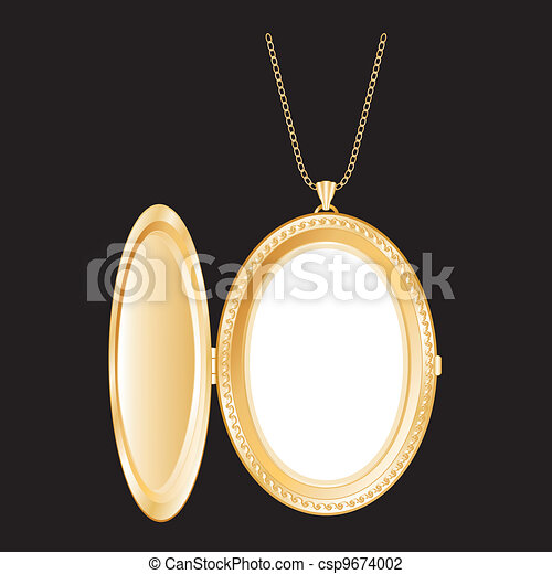 Vintage Gold Locket, Necklace Chain - csp9674002