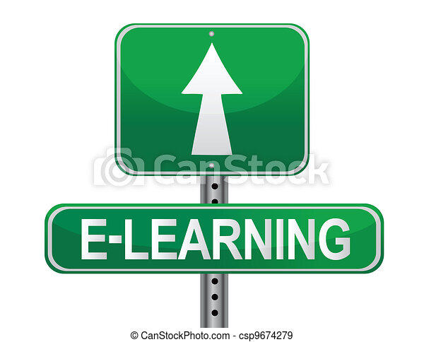 E-learning illustrated sign  - csp9674279