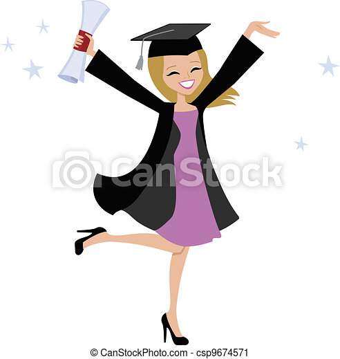 Blonde Graduate Woman Illustration - csp9674571