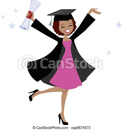 femme américaine, diplômé, africaine - csp9674573