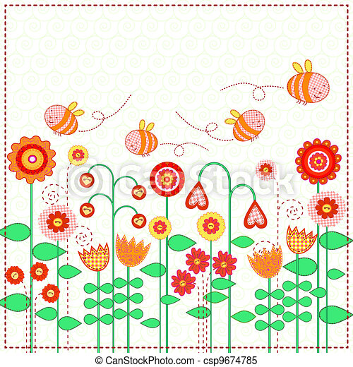 Lovely flowers and the cute bees - csp9674785