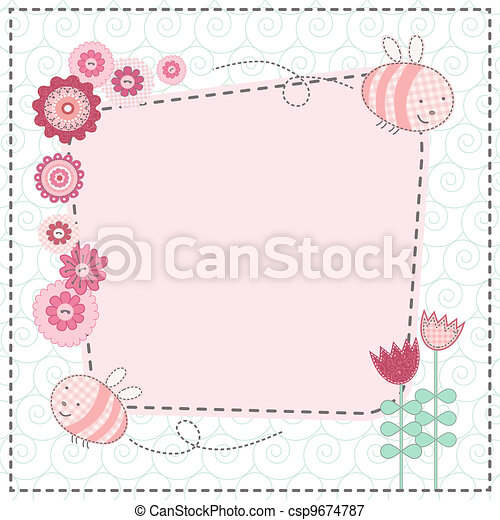 Lovely flowers and the cute bees - csp9674787