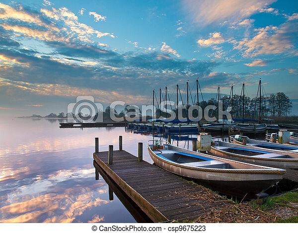 recreational harbor at a lake - csp9675223