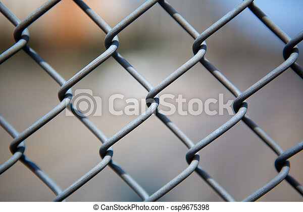 Chain link fence up close - csp9675398