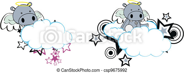 hippo angel cartoon cloud copyspace - csp9675992