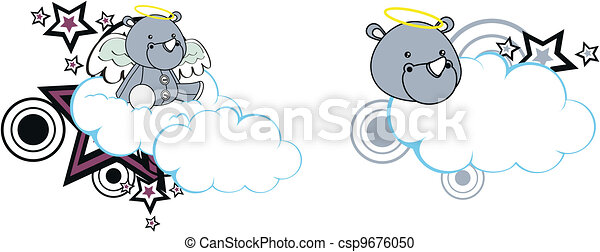 rhino angel cartoon cloud copyspace - csp9676050