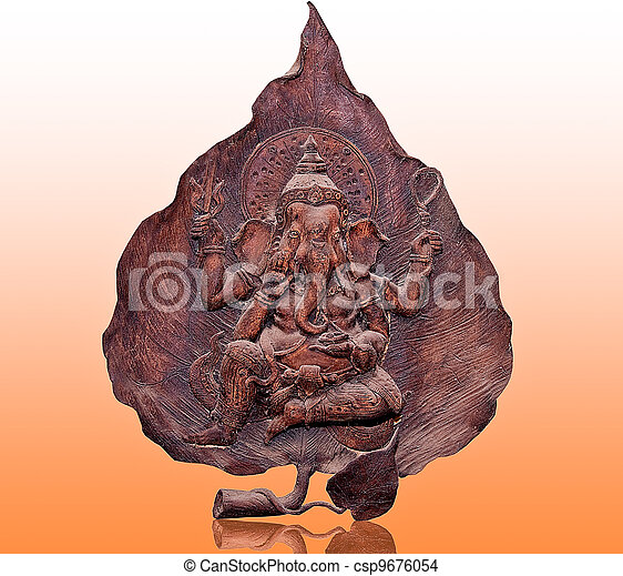 The Carving wood of ganesha on reflect background - csp9676054