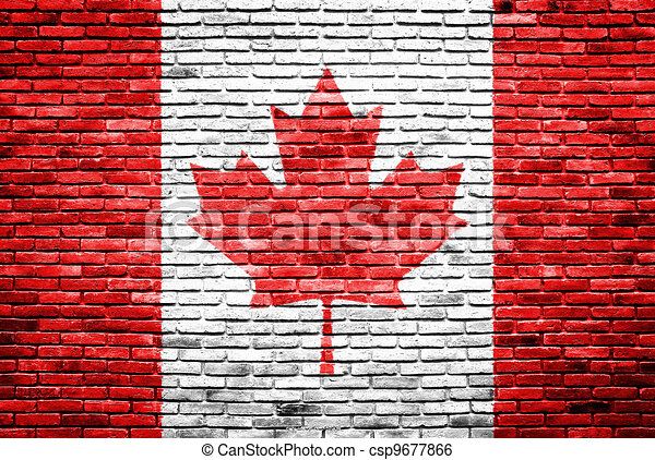 Canada flag painted on old brick wall - csp9677866