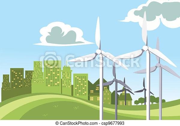 Wind turbines power - csp9677993