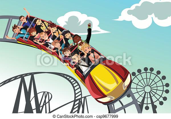 People riding roller coaster - csp9677999