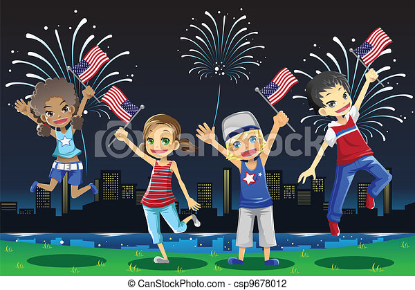 Kids celebrating Fourth of July - csp9678012
