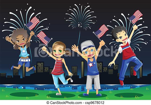 Kids celebrating Fourth of July - csp9678012