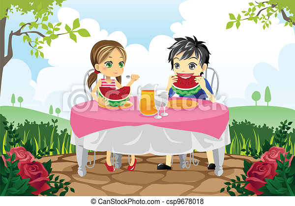 Kids eating watermelon in a park - csp9678018