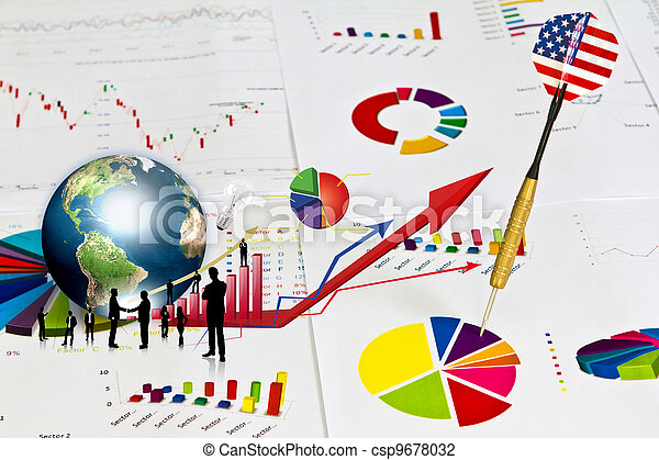 Business graph with earth and dart (Elements of this image furnished by NASA) - csp9678032