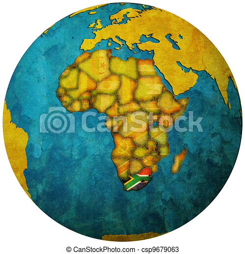 south africa flag on globe map - csp9679063