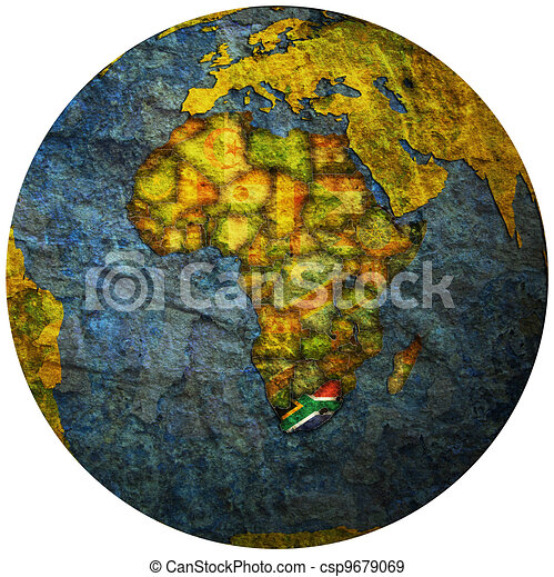 south africa flag on globe map - csp9679069