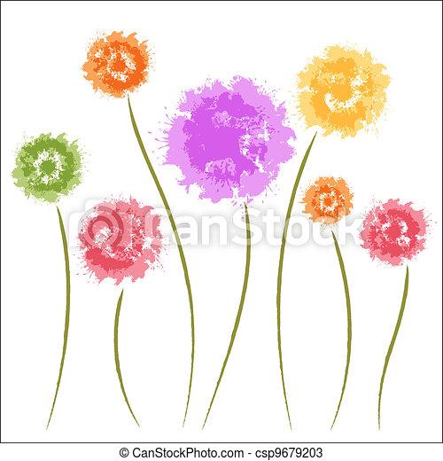 Dandelion flowers. Watercolor - csp9679203