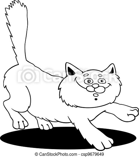 running fluffy cat fot coloring - csp9679649