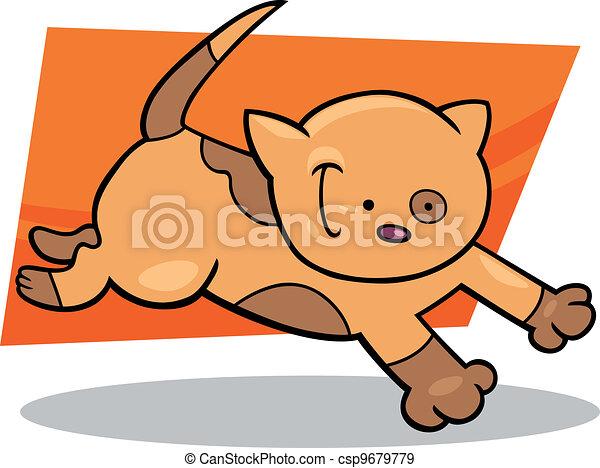 running spotted kitten - csp9679779