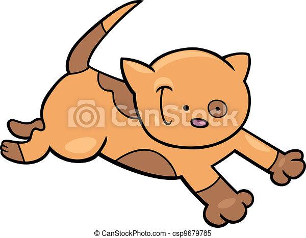 running spotted kitten - csp9679785
