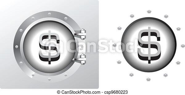 Dollar symbol and banking safe - csp9680223