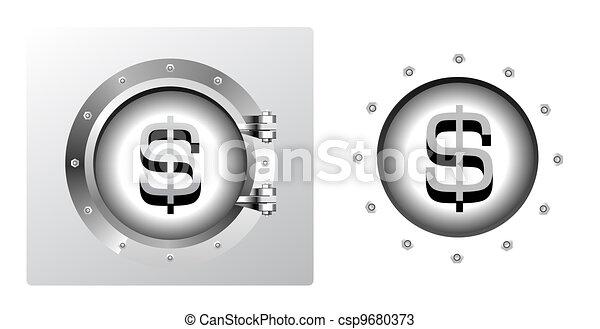 Dollar symbol and banking safe - csp9680373