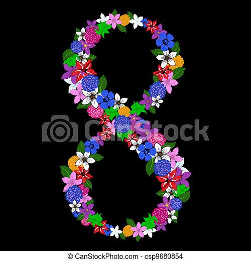 floral numeral - csp9680854
