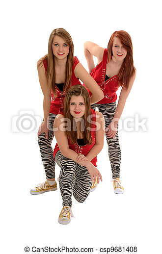 Girls Teenage Hip Hop Dance Trio - csp9681408