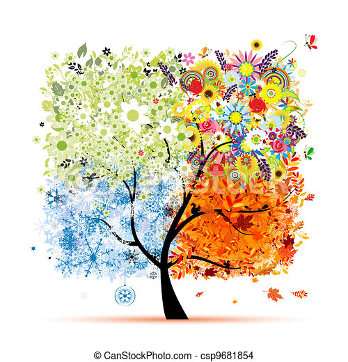 Four seasons - spring, summer, autumn, winter. Art tree beautiful for your design  - csp9681854