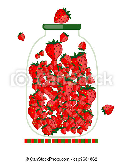 Jar with berry jam for your design - csp9681862