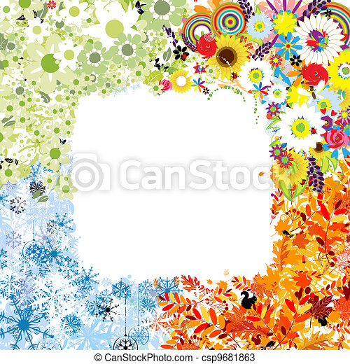 Four seasons frame - spring, summer, autumn, winter. - csp9681863