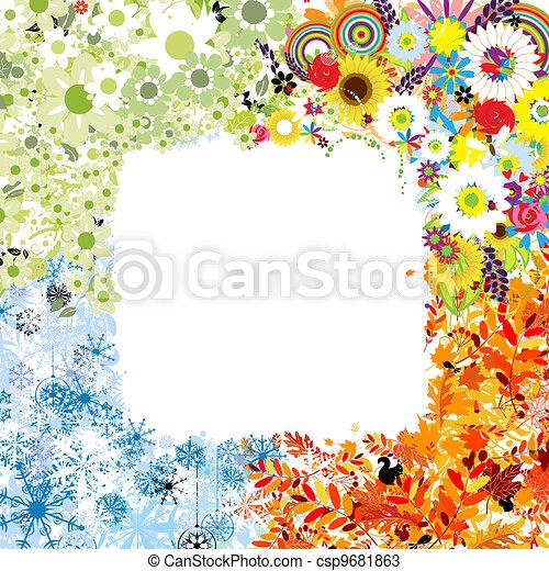 Four seasons frame - spring, summer, autumn, winter.  - csp9681863