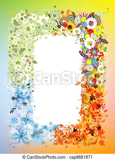 Four seasons frame - spring, summer, autumn, winter.  - csp9681871