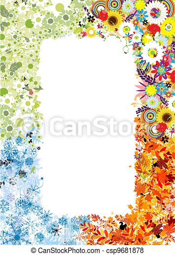 Four seasons frame - spring, summer, autumn, winter.  - csp9681878