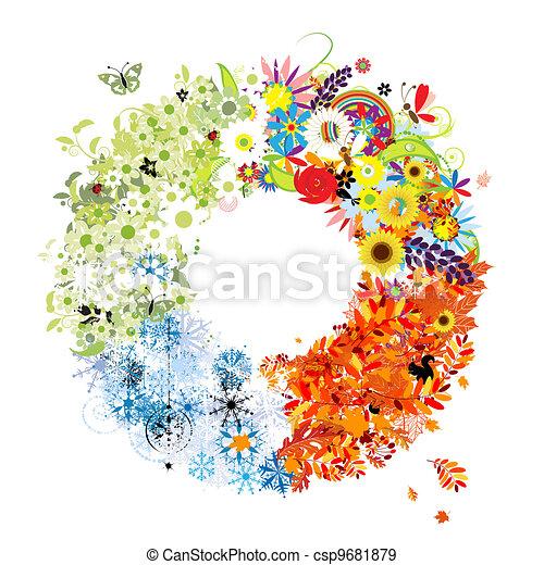 Four seasons frame - spring, summer, autumn, winter. - csp9681879