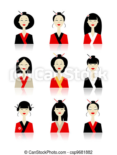Set of asian woman icons for your design - csp9681882