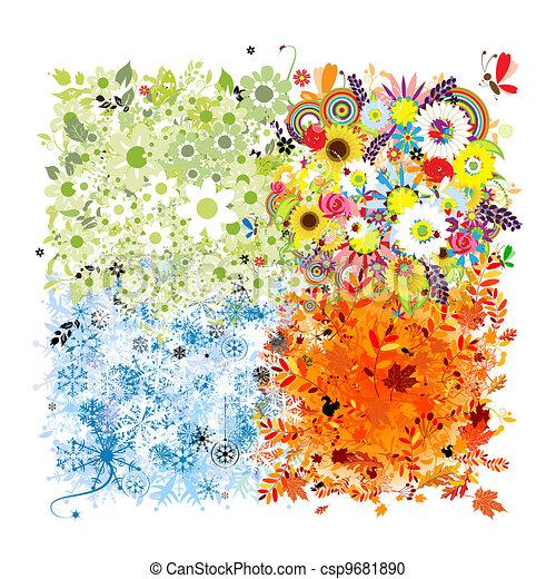 Four seasons frame - spring, summer, autumn, winter.  - csp9681890