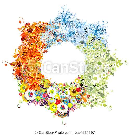 Four seasons frame - spring, summer, autumn, winter.  - csp9681897