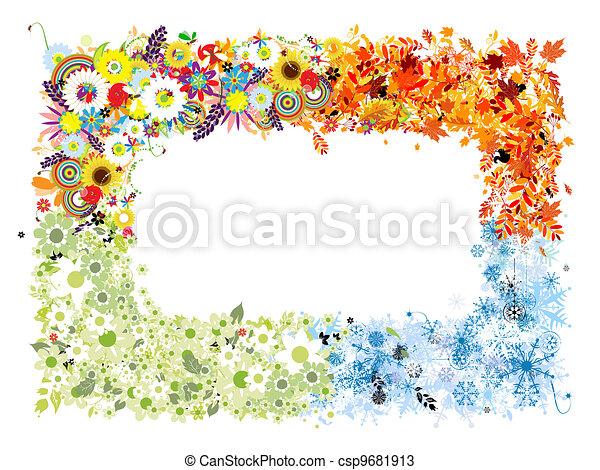 Four seasons frame - spring, summer, autumn, winter.  - csp9681913