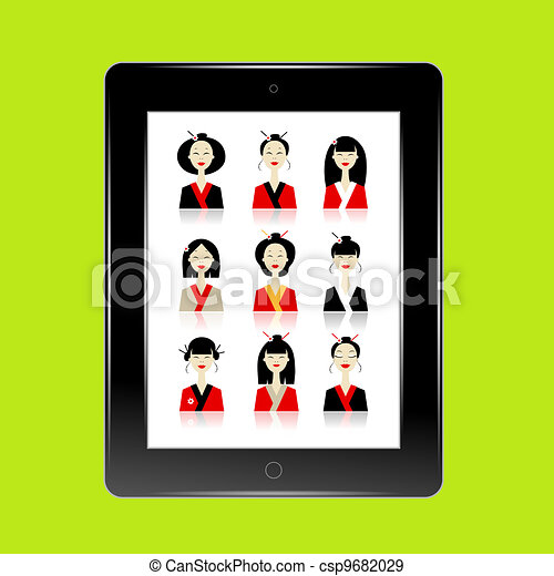 Black abstract tablet pc with asian women avatars for your design - csp9682029