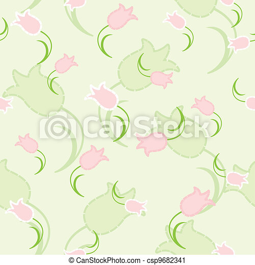 Seamless texture with pink flowers - csp9682341