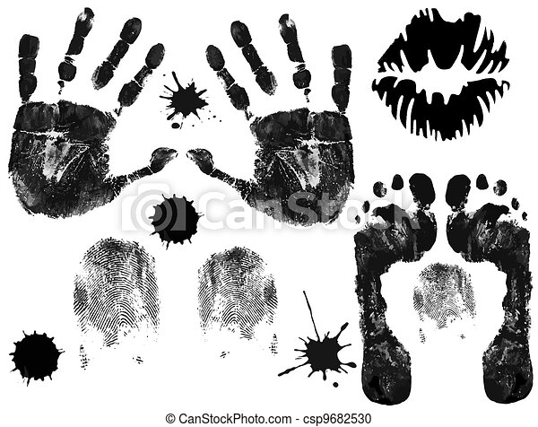 Foot, finger, lips and hand prints - csp9682530