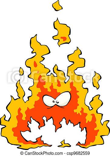Cartoon flame - csp9682559