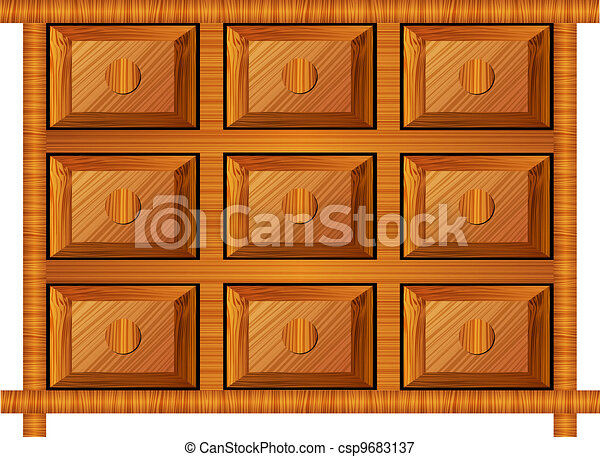 wooden cabinet for small items - csp9683137