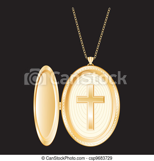 Christian Cross Gold Locket, Chain - csp9683729