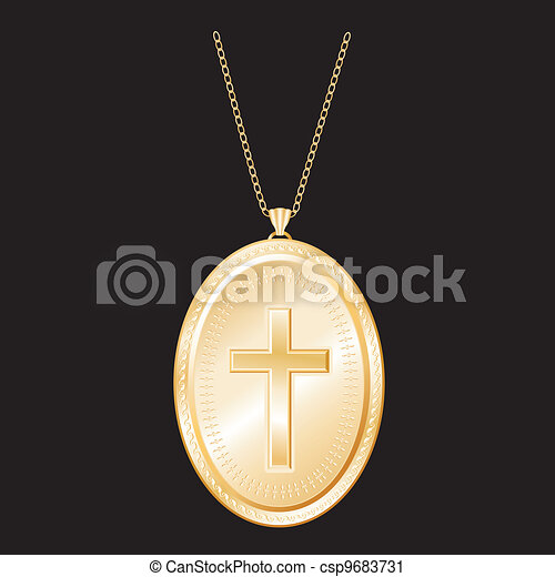 Christian Cross Gold Locket, Chain - csp9683731