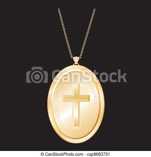 Christian Cross Gold Locket, Chain - csp9683731