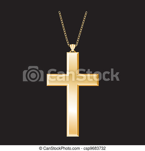 Christian Cross, Gold Necklace  - csp9683732